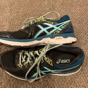 Asics black & blue running shoes